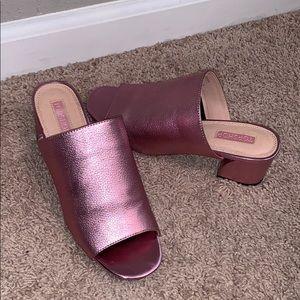 Pink metallic mules size 6.5